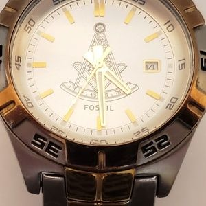 FOSSIL PR5340 MENS SILVER DIAL TWO-TONE WATCH